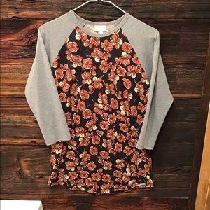 Lularoe Top 3/4 Sleeve Floral Randy Style Shirt SM